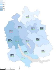 Entwicklung der Zahl von Einbrüchen in den Züricher Bezirken